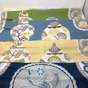 """4 Fabric Swatches Samples 26"""" Square Birds Urns"""
